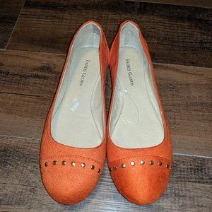 NWOT Orange Studded Ballet Flats Faded Glory